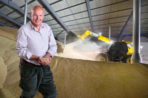 Portrait Of Farmer Inspecting Wheat Crop In Grain Storeの写真素材 [FYI02124067]