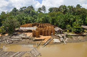 Lumber industry at Breves Channels, Brazilの写真素材 [FYI02124488]