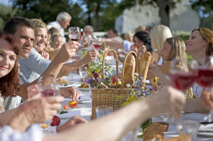 Guests at an outdoor lunch raising their glasses in a toastの写真素材 [FYI02125124]