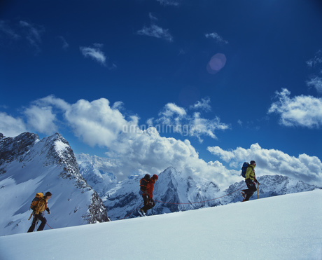 Hikers walking in a row on snowy mountainの写真素材 [FYI02125661]