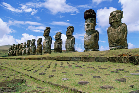 View of moai statues against blue sky, Chile, Easter Island (Rapa Nui)の写真素材 [FYI02126156]