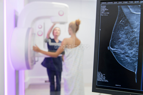 Hospital Radiographer Giving Mammogram To Female Patientの写真素材 [FYI02126202]