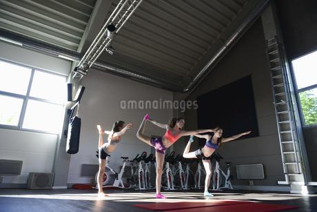 Teenage girls in yoga pose in gymの写真素材 [FYI02126635]