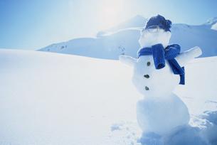 Scenic with snowmanの写真素材 [FYI02126675]