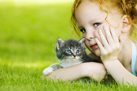 Young girl with kitten in grassの写真素材 [FYI02126945]