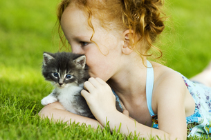 Young girl with kitten in grassの写真素材 [FYI02126977]