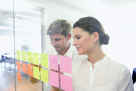 Young office workers organizing and planning with adhesive notes in officeの写真素材 [FYI02127715]