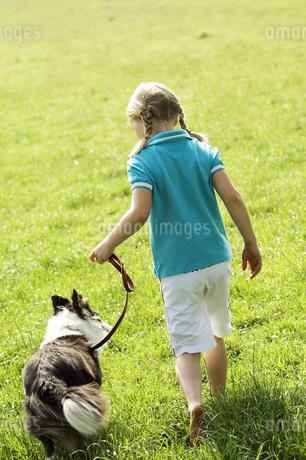 Rear view of girl walking dog in grassの写真素材 [FYI02127765]
