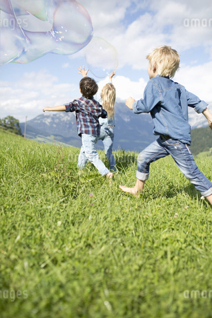 Children Chasing Giant Bubbles In Countrysideの写真素材 [FYI02127861]