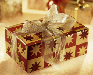 Detail view of a wrapped Christmas presentの写真素材 [FYI02128531]