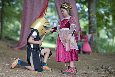 Kindergarten children in costume staging a play in a wood kindergartenの写真素材 [FYI02130297]