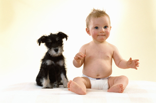 Portrait of baby and puppyの写真素材 [FYI02130761]