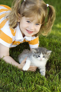 Young girl in grass with kittenの写真素材 [FYI02130884]