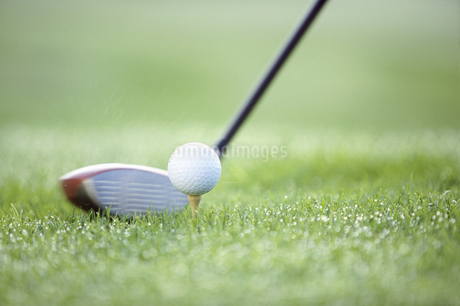 Detail view of a teed golf ball about to be hit by a golf clubの写真素材 [FYI02130893]