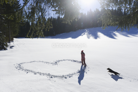 Young woman making heart shape in snowの写真素材 [FYI02130939]