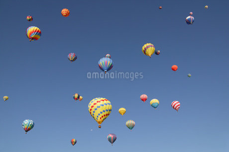 View of hot-air balloons against blue sky, Balloon Festival, Albuquerque, New Mexico, USAの写真素材 [FYI02130992]