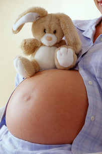 Pregnant woman with stuffed rabbitの写真素材 [FYI02131204]