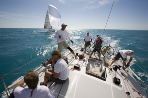 High angle view of group on sailboat in Key West, Florida, USAの写真素材 [FYI02131500]