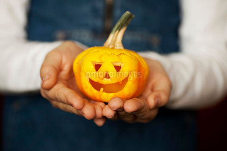 Midsection of girl holding a carved pumpkinの写真素材 [FYI02132093]