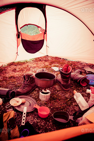 Messy tent in forestの写真素材 [FYI02132639]