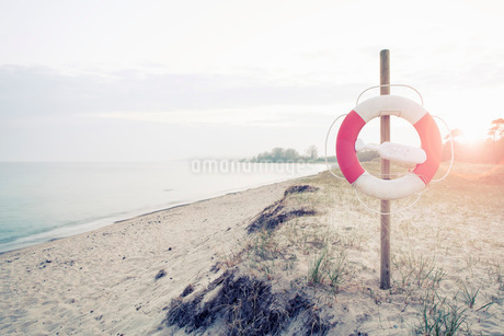 Life belt hanging on pole at beach on sunny dayの写真素材 [FYI02135466]