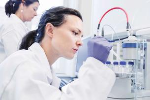 Female scientist using pipette in laboratoryの写真素材 [FYI02138969]