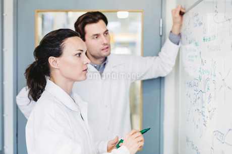 Scientists discussing plan on whiteboard in laboratoryの写真素材 [FYI02139811]