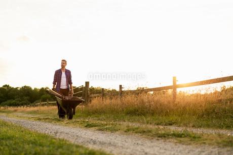 Man pushing wheelbarrow on dirt road by fence against clear skyの写真素材 [FYI02139883]