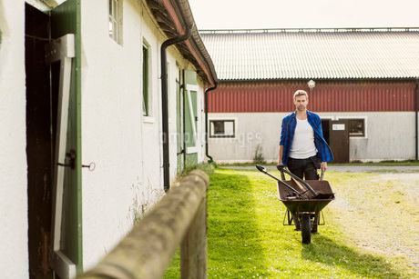 Man pushing wheelbarrow while walking by barn at farmの写真素材 [FYI02139900]