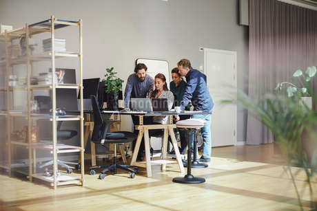 Business professionals using laptop at desk in creative officeの写真素材 [FYI02140321]