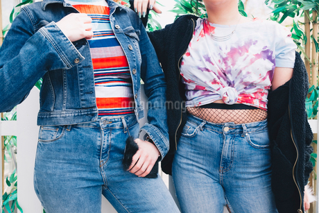 Midsection of hipster female friends standing against fenceの写真素材 [FYI02141823]
