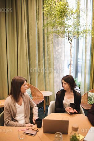 High angle view of business colleagues discussing in board meetingの写真素材 [FYI02141949]