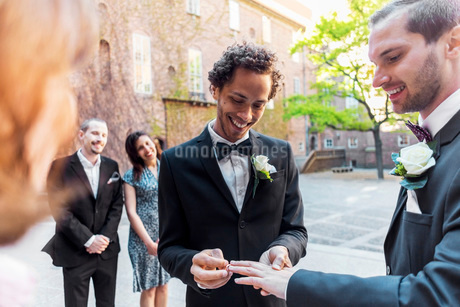 Gay couple exchanging rings during wedding ceremonyの写真素材 [FYI02143020]