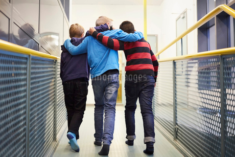 Full length rear view of boys walking arm around in school corridorの写真素材 [FYI02143613]