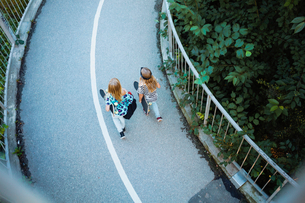 High angle view of friends walking on bridge by treesの写真素材 [FYI02143896]