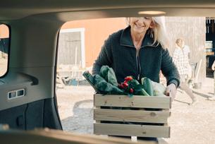 Mature woman loading crate full of organic vegetables in car trunkの写真素材 [FYI02145069]