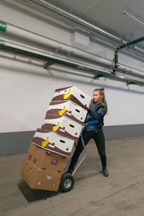 Female worker pushing hand truck with cardboard box stack in parking garageの写真素材 [FYI02145165]