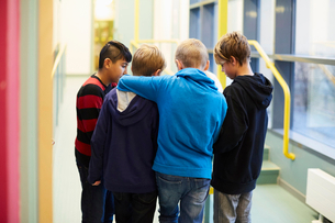 Multi-ethnic boys standing in school corridorの写真素材 [FYI02146044]