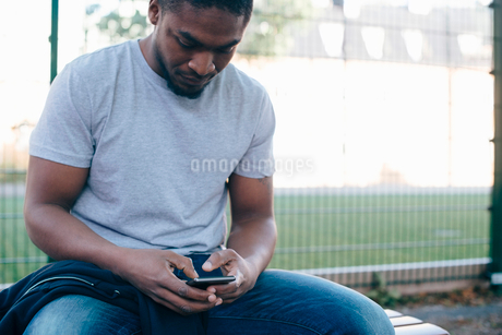Young man using smart phone while sitting on bench against fenceの写真素材 [FYI02146343]