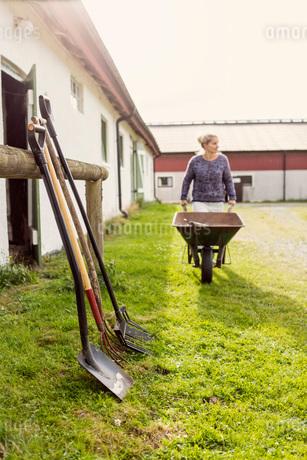 Female farmer walking with wheelbarrow by equipment at farmの写真素材 [FYI02146417]