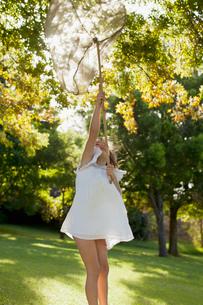 Girl in dress holding butterfly net overheadの写真素材 [FYI02147076]