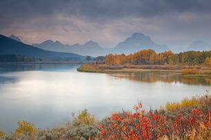 Rural landscape reflected in still riverの写真素材 [FYI02148469]