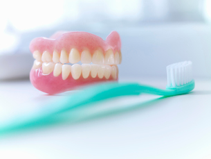 Close up of dentures and toothbrushの写真素材 [FYI02149030]