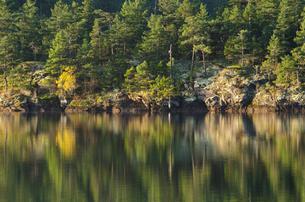 Rural landscape reflected in still lakeの写真素材 [FYI02149752]