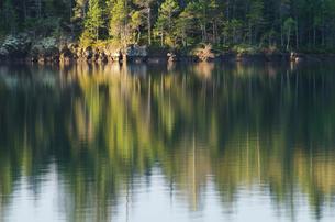 Rural landscape reflected in still lakeの写真素材 [FYI02149804]