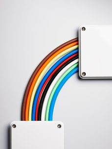 Colorful cords in rainbow shapeの写真素材 [FYI02149822]
