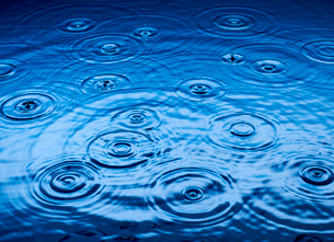 Ripples of raindrops in puddleの写真素材 [FYI02152815]