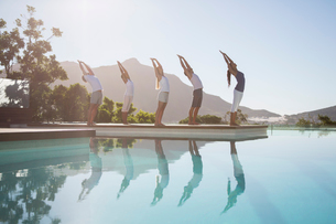 People practicing yoga at poolsideの写真素材 [FYI02153628]