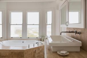 Sink and hot tub tub in luxury master bathroomの写真素材 [FYI02154141]