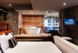 Bed and bathtub in modern master bedroomの写真素材 [FYI02154390]